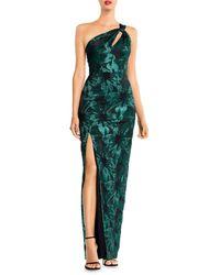 Aidan Mattox Metallic Floral One-shoulder Gown - Green