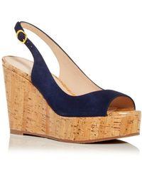 Stuart Weitzman Riviera Slingback Wedge Platform Sandals - Blue