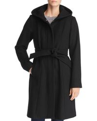 Vince Camuto Hooded Belted Wrap Coat - Black