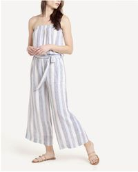 Splendid Striped Strapless Wide Leg Jumpsuit - Blue