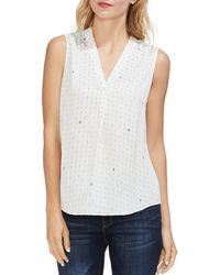 Vince Camuto - Geo Print Pleat Front Blouse - Lyst