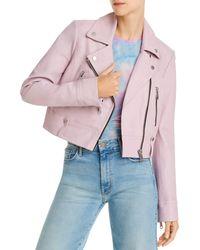 Aqua Cropped Leather Moto Jacket - Pink