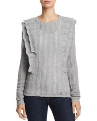 Aqua - Ruffled Pointelle Cashmere Sweater - Lyst