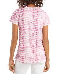 Vince Camuto Sandy Waves Tie Dye Tee - Pink