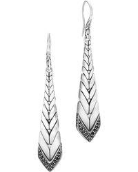 John Hardy - Brushed Sterling Silver Modern Chain Black Sapphire & Black Spinel Drop Earrings - Lyst