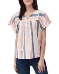 B Collection By Bobeau Romina Striped Cotton-blend Blouse - Pink