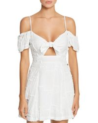 Surf Gypsy Tie - Front Cold Shoulder Mini Dress Swim Cover - Up - White