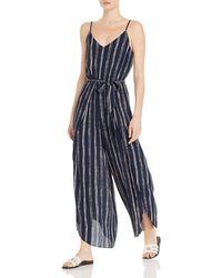 Aqua - Striped Wide-leg Jumpsuit - Lyst