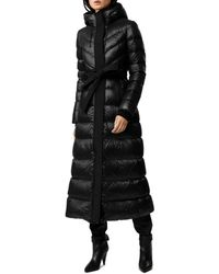 Mackage Long Quilted Tie-waist A-line Down Coat - Black
