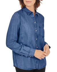 Foxcroft Button Front Denim Shirt - Blue