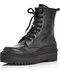 Aqua Women's Logan Platform Hiker Boots - Black