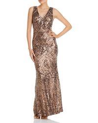 Aqua V - Neck Sequined Evening Gown - Metallic