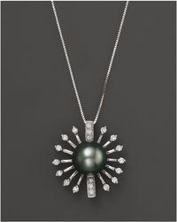 """Bloomingdale's - Diamond And Tahitian Pearl Pendant Necklace In 14k White Gold, 18"""" - Lyst"""