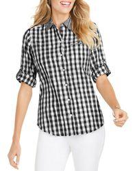 Foxcroft Reese Crinkled Gingham Shirt - Black