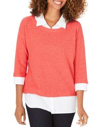 Foxcroft Miles Layered - Look Sweater - Pink