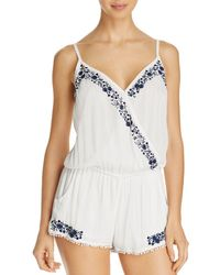 Surf Gypsy - Crossover Embroidered Romper Swim Cover-up - Lyst