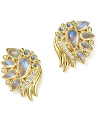 Temple St. Clair | 18k Yellow Gold Diamond And Royal Blue Moonstone Wing Earrings | Lyst