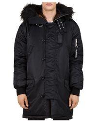 The Kooples Oversized Contrast - Fabric Parka Jacket - Black