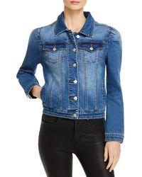 Aqua Puff Sleeve Denim Jacket - Blue