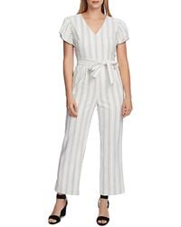 Vince Camuto Pinstriped Flutter - Sleeve Jumpsuit - White
