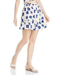 Aqua - Ruffled Floral Skirt - Lyst