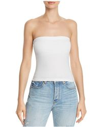 Aqua - Ruched Strapless Top - Lyst