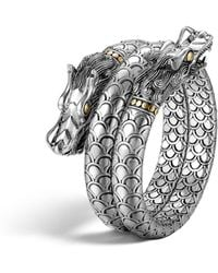 John Hardy | Sterling Silver And 18k Bonded Gold Naga Dragon Head Double Coil Bracelet | Lyst