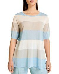Marina Rinaldi America Striped Crepe Top - Blue