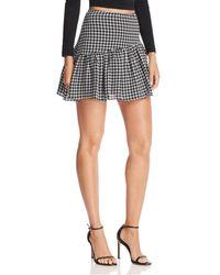 Aqua - Houndstooth Asymmetric Mini Skirt - Lyst