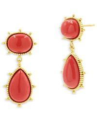 Freida Rothman Double Drop Earrings - Metallic