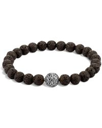 John Hardy - Men's Sterling Silver Classic Chain Large Beaded Bracelet With Black Volcanic Rock - Lyst