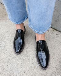 "Frēda Salvador Women's ""wear Laceless D'orsay"" Croc - Embossed Leather Oxfords - Black"