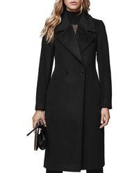 Reiss - Lawson Faux Fur-trimmed Wool Coat - Lyst