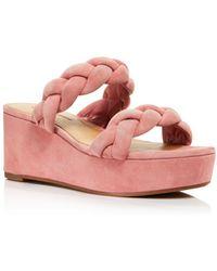Rebecca Minkoff Women's Imani Braided Suede Platform Slide Sandals - Pink