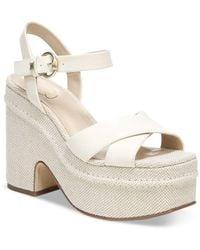 Sam Edelman Trianna Strappy Espadrille Platform Sandals - White