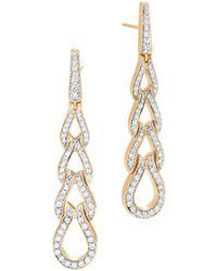 John Hardy - 18k Yellow Gold Classic Chain Pavé Diamond Long Drop Earrings - Lyst