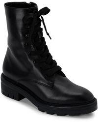 Dolce Vita Women's Lottie Almond Toe Leather Combat Booties - Black