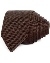 Theory Roadster Solid Knit Silk Skinny Tie - Brown