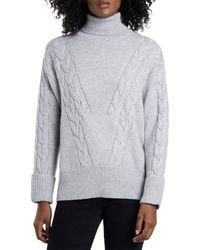 Vince Camuto Cable Stitch Turtleneck Sweater - Gray