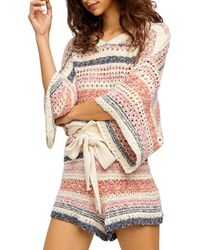 Free People Stripes For Days Shorts Set - Pink