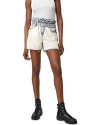 AllSaints Filly Paperbag Waist Denim Shorts In Bleach Indigo - Blue