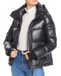 Aqua Glossy Hooded Puffer Coat - Black
