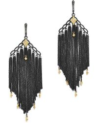 Armenta - 18k Yellow Gold & Blackened Sterling Silver Old World Cravelli Champagne Diamond Chain Chandelier Earrings - Lyst