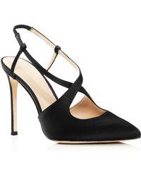 Pour La Victoire - Women's Cerry Pointed Toe Satin Slingback High-heel Court Shoes - Lyst