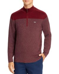 Vineyard Vines Colour - Block Striped Quarter - Zip Jumper - Red