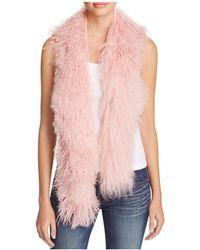 Jocelyn Tibetan Lamb Fur Scarf - Pink