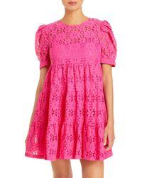 Aqua Short Sleeve Floral Lace Tiered Mini Dress - Pink