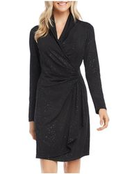 Karen Kane Sparkle Knit Faux - Wrap Dress - Black