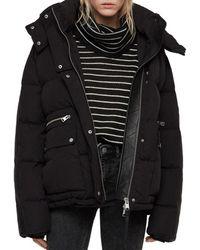 AllSaints Kyle Leather-trim Hooded Puffer Coat - Black