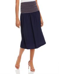 Aqua Smocked - Waist Midi Skirt - Blue